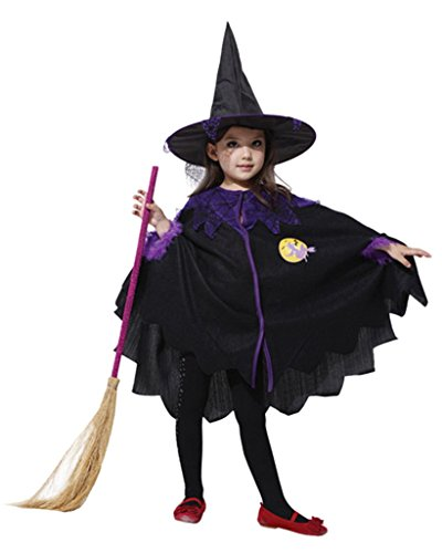 La Vogue Kids Witch Costume Halloween Fancy Dress Cape Hat Outfit Purple 10-12Y (Common Halloween Costumes)