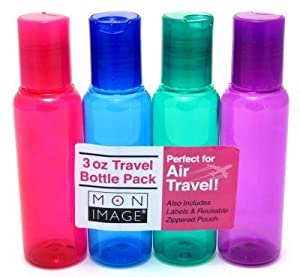 Mon Image 3oz Air Travel Bottles 4 Count Assorted Colors