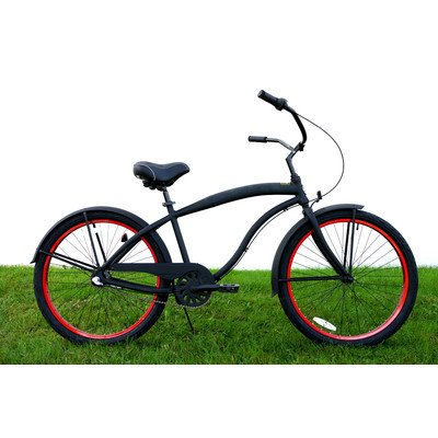 Men's 3-Speed Aluminum Beach Cruiser Frame Color: Flat Black with Red Wheels