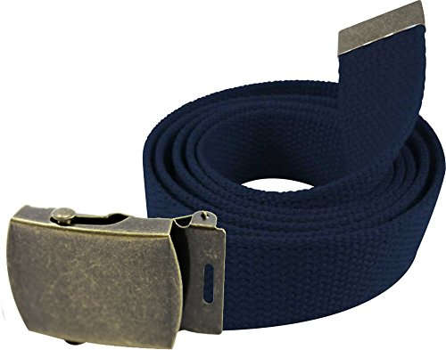 """Enimay 56"""" Military Style Canvas Web Belt w/ Brass Roller Buckle Navy"""