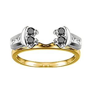 0.42 CT Black And White Diamonds (G-H,I2-I3) Attractive Anniversary Style Jacket Ring in Two Tone Sterling Silver