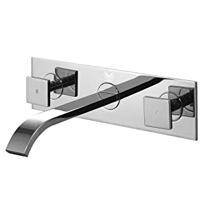 VIGO VG05002CH Square Double Handle Wall Mounted Faucet, Chrome