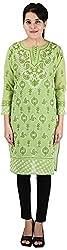 Drishti Lucknowi Chikan Women's Cotton Kurta (DLC-K08, Green, S)