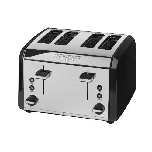 Waring WT400BKU 4-Slice Toaster Polished Stainless Steel, Black