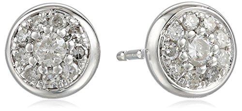 10K White Gold Diamond With Bezel Frame Stud Earrings (1/4 Cttw, I-J Color, I2-I3 Clarity)