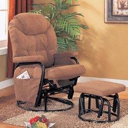Microfiber Brown Glider Recliner / Ottoman by Coaster Furniture