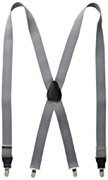 Status Men\'s Suspenders 11/4 Inch Poly Elastic 46 Inch Drop Clip, Grey, One Size