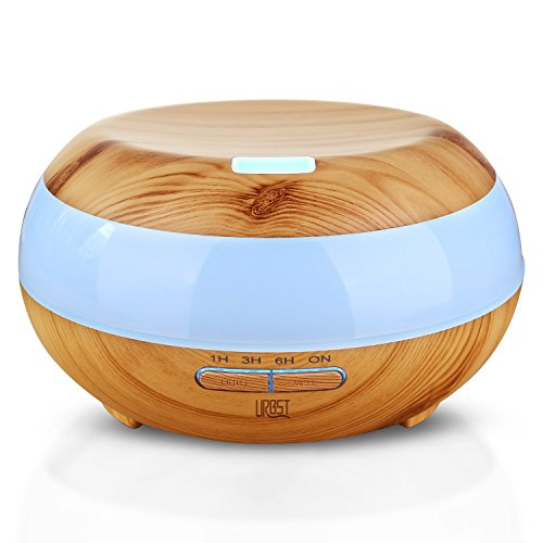 URBST 300ml Aromatherapy Imperative Oil Diffuser,7color LED lights change,waterless automatic shut-off function and timing Settings,the mini Humidifier fit for the office and bedroom-wood grain