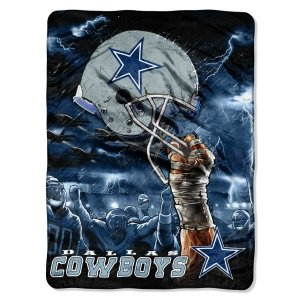 "Dallas Cowboys 60""X80"" Royal Plush Raschel Throw Blanket - Sky Helmet Style"
