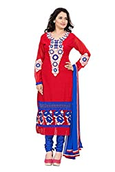Lovely Look Latest Red Embroidered Dress Material