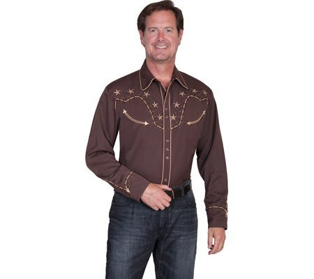 scully-853-long-sleeved-western-shirt-chocolate-2xl