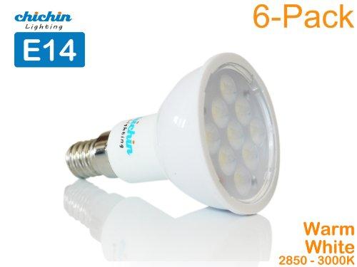 Chichinlighting® 6-Pack Led Bulb 4 Watt E14 Base For Chandeliers Light Bulb (Warm White 3000K)