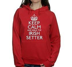 Keep calm and walk the Irish setter womens hooded top pet dog gift ladies Red hoodie white print