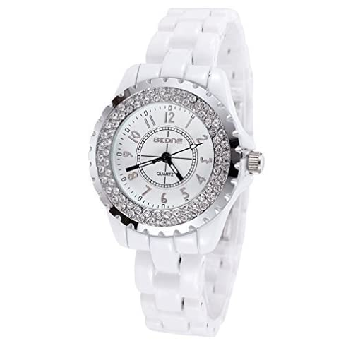 AIBI® Unisex Waterproof Crystal Circle Bezel Quartz Wrist Watch with White Ceramic Band