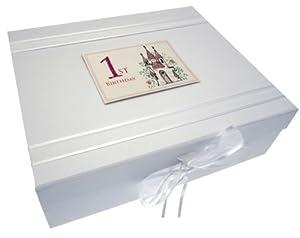 White Cotton Cards Castle Age 1 Large Keepsake Box, Code CAS2X by white cotton cards