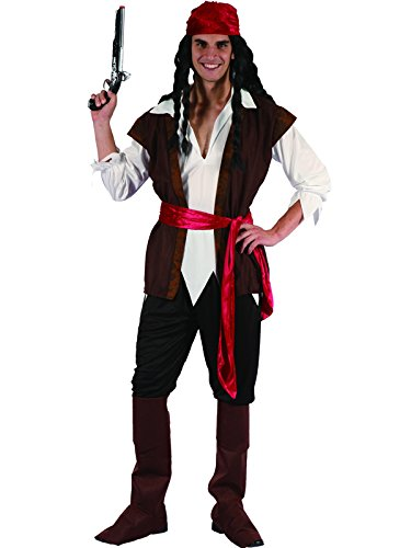 Mens Caribbean Pirate Captain Costume Adult Fancy Dress Outfit Halloween Party Jack Sparrow (Men:  Medium)