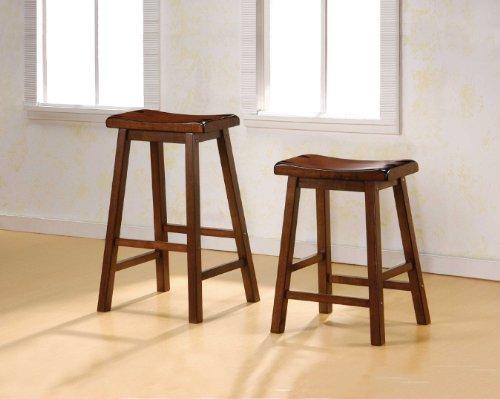 Buy 24 Inch Bar Stool Set Of 2 In Dark Walnut By Coaster Furniture