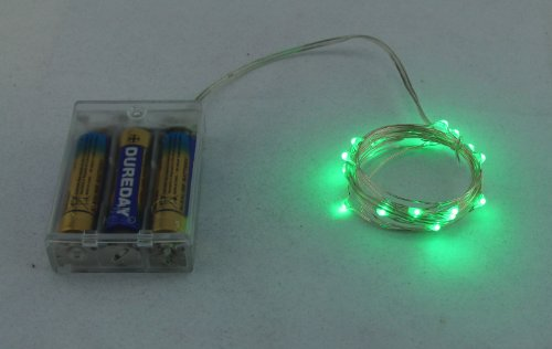 Kw-Light Micro Led 20 Green Color Lights Battery Operated On 7Ft Long Silver Color Ultra Thin String Wire