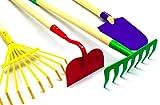 G & F 10018 JustForKids Kids Garden Tools Set, Rake, Spade, Hoe and Leaf Rake, 4-Piece