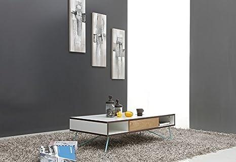 Copenhague - Table basse 120x60cm 1 tiroir pieds métal bleu