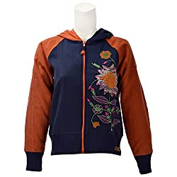 Beautiful Clothes Womens Cotton Jacket ,Mustard And Navy ,Medium
