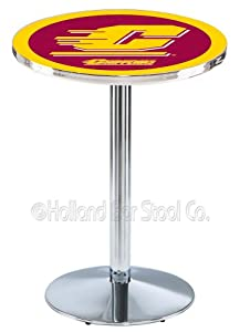 Buy Central Michigan Chippewas Pub Table With Chrome Base and Edge by Holland Bar Stool