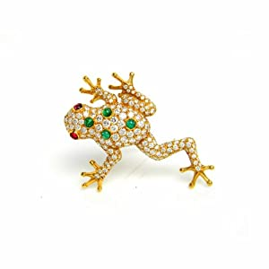 Estate 11.30 Ct Vintage Oscar Heyman Frog Diamond Emerald Ruby 18k Gold Brooch Pin