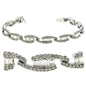 14K White Gold 3.43cttw Round Diamond Bracelet