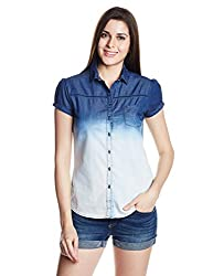 Wrangler Women's Button Down Shirt (WRSH5956_Indigo_M)