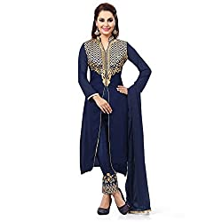 ZHot Fashion Women's Embroidered Un-stitched Dress Material In Georgette Fabric (ZHMS1001) Blue