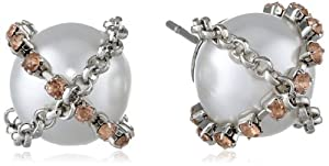 Jessica Simpson Chain Wrapped Pearl Cream Stud Earrings