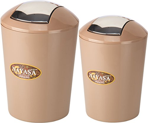 Nayasa 2 Piece Dustbin with Lid, Brown
