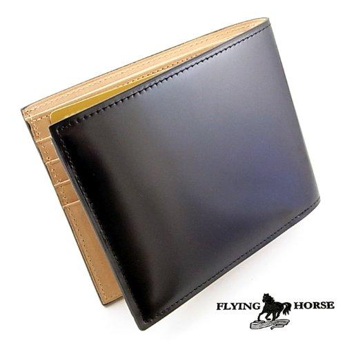 高品質コードバン二つ折財布【FLYING HORSE】馬革メンズ二つ折財布(黒)[ブラック]フォーマル・ビジネス
