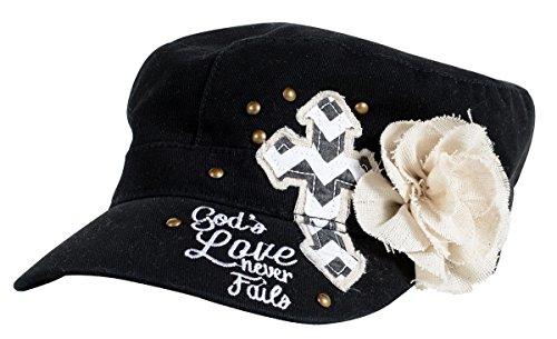 Kerusso Activewear Swc1527 Gods Love Flower Cap, Black SWC1527