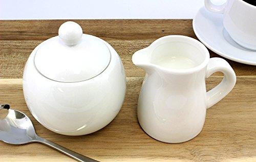 White Ceramic Cream & Sugar 2-Piece Serving Set for Coffee & Tea; Elegant, Affordable Pitcher and Sugar Bowl Stoneware Set (Creamer Coffee Pot compare prices)