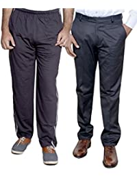 Indistar Mens Formal Trousers With Men's Premium Cotton Lower (Length Size -40) With 1 Zipper Pocket And 1 Open Pocket (Pack Of -1 Lower With 1 Trouser) - B01GEIOIVS