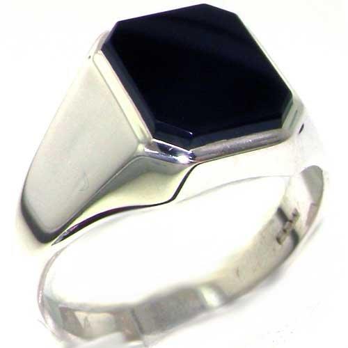 英国製 925 シルバー 天然 ブラック オニキス メンズ シンプル オクタゴン シグネット リング 指輪 サイズ 21 各種サイズあり