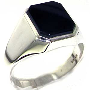 Gents Solid 925 Sterling Silver Natural Onyx Mens Signet Ring, Made in England - Size 6 - Finger Sizes 6 to 13 Available - Ideal gift for fathers day, valentines, wedding, birthday, christmas, thanksgiving, grandfathers day, uncle, dad, son, nephew