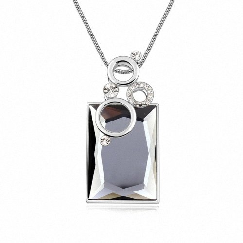 TAOTAOHAS- [ Search Name: Square Bubble ] (1PC) Crystallized Swarovski Elements Austria Crystal Long Chain Pendant Sweater Necklace, Made of Alloy Plated with 18K True Platinum / White Gold and Czech Rhinestone