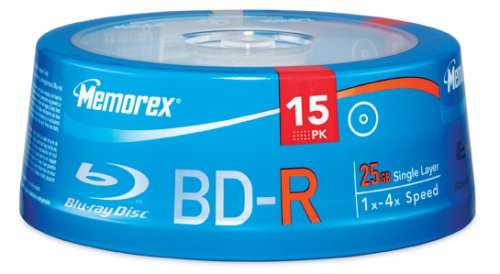 Memorex 32020013358 25GB 4X Write-Once BD-R Blu-ray Discs (15pk Spindle)