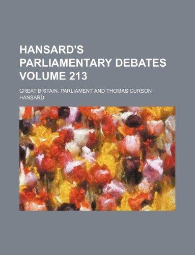 Hansard's parliamentary debates Volume 213