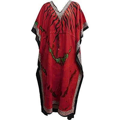 Bohemian Crepe Caftan Cover-Up Hippie Gypsy Chic #61 Red Tie-Dye