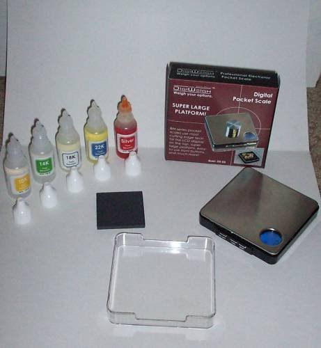 Complete Silver and Gold Testing Kit! 5 Bottles of test solution PLUS Digital Scale and More!