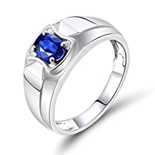 buy Unique Men'S Jewelry Solid 14K White Gold Natural Sapphire Diamond Engagement Ring Set