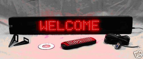Light Master Red Led Programmable Moving Scrolling Sign 26''X4''X1.25'' Eight Letters And Modes Available.