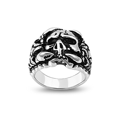 Unisex Stainless Steel With Skull Design And Polished Ring (Size 10)