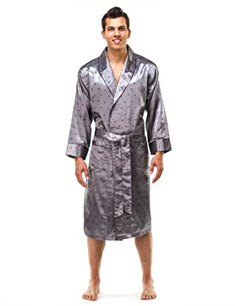 Noble Mount Mens Premium Satin Robe - Boat Charcoal - Small/Medium