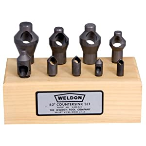 Set of 9 WELDON 82° Countersink Tools w/Wooden Block: Countersink