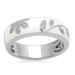 Sterling Silver Diamond White Enamel Floral Design Stack Ring (1/20 cttw, I-J Color, I3 Clarity), Size 7