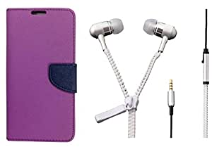 Novo Style Book Style Folio Wallet Case Apple iPhone 6 Plus Purple + Zipper Earphones/Hands free With Mic 3.5mm jack